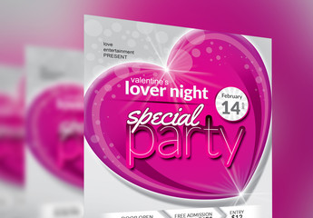 Valentine's Day Party Flyer Layout with Pink Heart