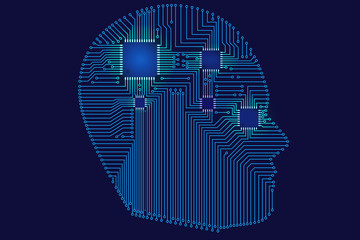 Artificial intelligence background illustration. A head shape composed of circuit lines and microprocessors on a dark blue background. For websites,presentation,cool designs,poster.Technology concept.