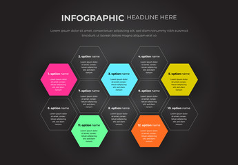 Infographic Layout with Hexagon Shapes