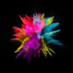 Fototapete - Multi colored powder explosion isolated on black