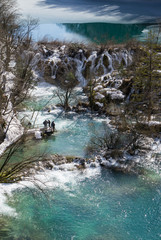 Tourists in the Plitvice National Park in Croatia