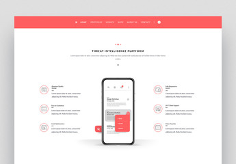 Website Layout with Icons and Coral Accents