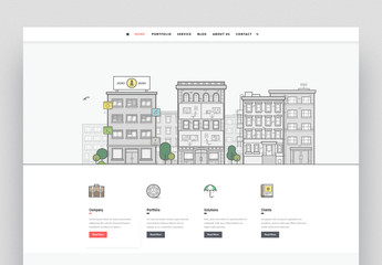 Website Layout with Illustration of Buildings