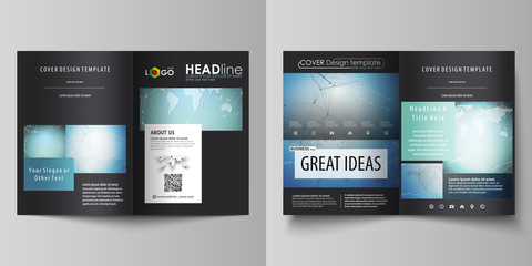 The black colored vector illustration of the editable layout of two A4 format modern covers design templates for brochure, flyer, booklet. Chemistry pattern, connecting lines and dots. Medical concept