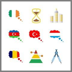 9 history icon. Vector illustration history set. azerbaijan and turkey icons for history works