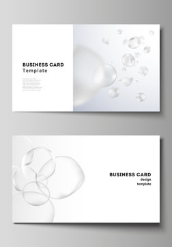 The minimalistic editable vector layout of two creative business cards design templates. Spa and healthcare design. Abstract soft color medical consept background with blurred molecules or particles.