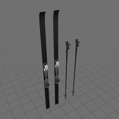 Alpine skis with poles
