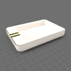 Rectangular ceramic ashtray