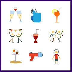 9 club icon. Vector illustration club set. toast and dancing icons for club works