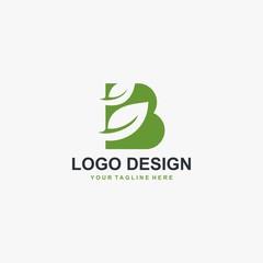 Green leaf and letter B monogram logo design vector.