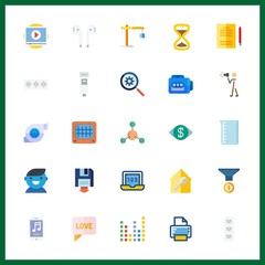 25 technology icon. Vector illustration technology set. user and earphones icons for technology works