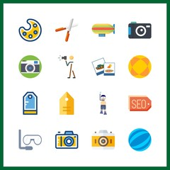 16 hobby icon. Vector illustration hobby set. zeppelin and aqualung icons for hobby works