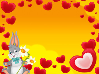 Cartoon frame with hearts and rabbit with flowers valentines - illustration for children