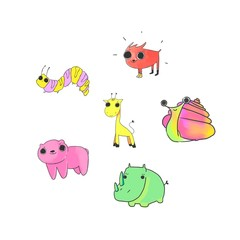 Colorful Cute Cartoon Happy set doodle animal isolated in white background. Cat Dog Hippo Rhino Crocodile. Cute characters for t-shirt printing