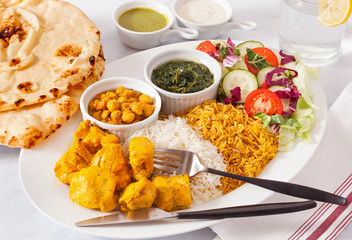 Afghan Food Platter of Chicken Kabob and Sides