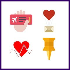 4 paper icon. Vector illustration paper set. cardiogram and push pin icons for paper works