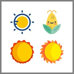 4 sunshine icon. Vector illustration sunshine set. corn and sun icons for sunshine works