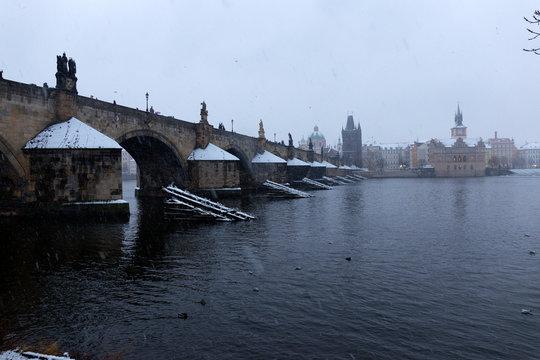 Snowy foggy Prague Old Town in Snowstorm, Czech republic