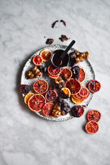 Overhead view of dried blood oranges dipped in chocolate