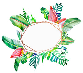 Set of card with tropical leaves and flowers. Floral greeting card. Template for invitations, wedding and any design . Frame