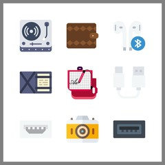 9 electronic icon. Vector illustration electronic set. turntable and wallet icons for electronic works