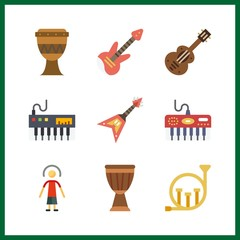 9 jazz icon. Vector illustration jazz set. electric guitar and french horn icons for jazz works