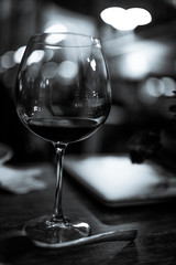 wine glass served on dining table with valentines day romantic