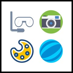 4 hobby icon. Vector illustration hobby set. ball and aqualung icons for hobby works