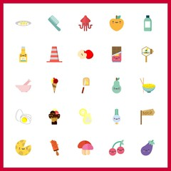 25 ingredient icon. Vector illustration ingredient set. squid and cone icons for ingredient works