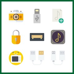 9 electronic icon. Vector illustration electronic set. usb and television icons for electronic works