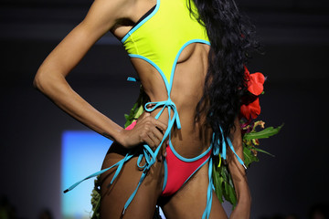A model presents a creation from the Chromat collection during New York Fashion Week in New York