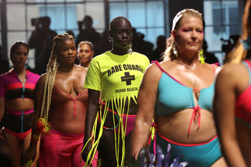 Models rehearse before presenting creations from the Chromat collection during New York Fashion Week in New York