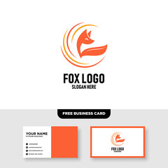 Fox Logo Vector Template, Free Business Card Mockup