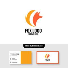 Fox Logo Vector Template, Free Business Card Mockup