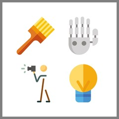 4 creative icon. Vector illustration creative set. mechanical arm and painted icons for creative works