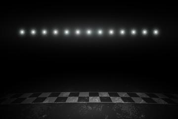 Race track finish line racing on night. vector illustration