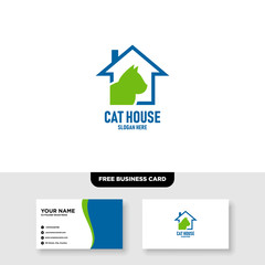 Cat House Logo Vector Template, Free Business Card