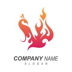 fire peacock logo design