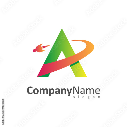 letter a with rocket launch logo template