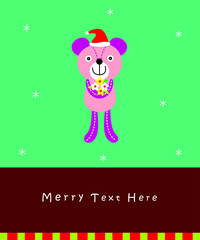 cute teddy bear merry christmas greeting card vector