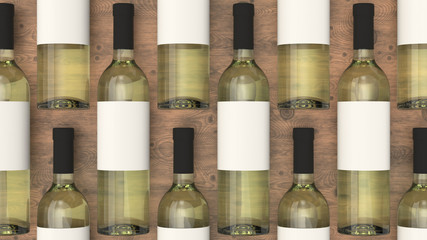Pattern from bottles of white wine with blank labels