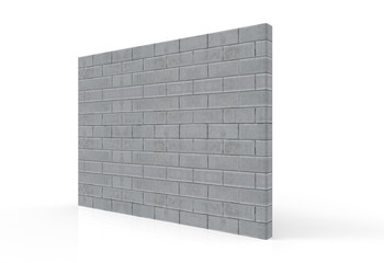 3d rendering. perspective view of textured cement brick stack wall with clipping path on gray background.