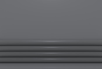 3d rendering. Luxury dark curve panels with copy space gray wall background.