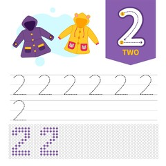 Kids learning material. Card for learning numbers. Number 2. Cartoon cute coats.