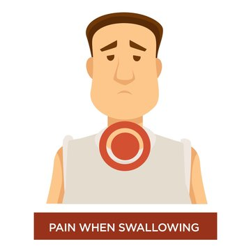 Sore throat pain when swallowing inflammation cold or flu