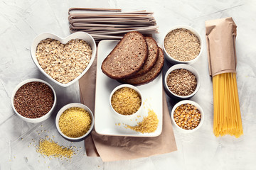 Different types of cereals and grains