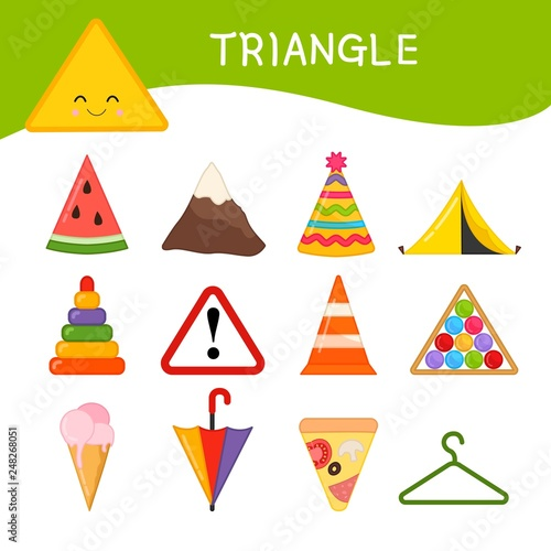 """"""" Materials for kids learning forms. A set of triangle ..."""