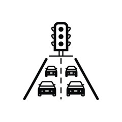 Black solid icon for traffic jam