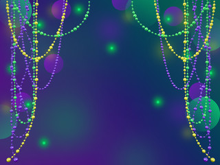 Mardi Gras holiday background. 3D illustration suitable for greeting cards, invitations, posters, prints.  Wall mural