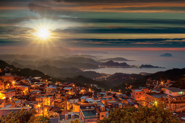 Night view of Jiufen, People visit heritage Old Town of Jiufen located in Ruifang District of New Taipei City